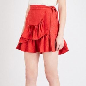 Maje Jaquard Ruffle Wrap Skirt